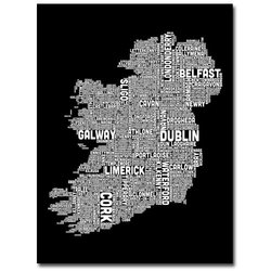 "Trademark Fine Art ""Ireland City Map XV"" Canvas Wall Art - 35"" x 47"""