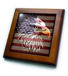 ft_116181_1 Ornate Patriotic Bald Eagle and USA American Flag Pride Great for Fourth of July Independence Day Framed Tile, 8 by 8""