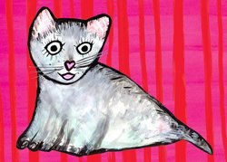 Oopsy Daisy Here Kitty Cat by Emily Green Canvas Wall Art, 14 by 10-Inch