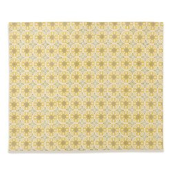 Caravan Collection by Couleur Nature Bleu D'Chine Yellow/Wheat Mats, Set of 4