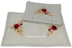 "Xia Home Fashions 12""x18"" Harvest Embroidered Fall Placemats - Set of 4"