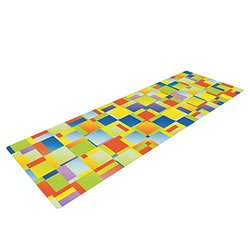 Kess InHouse Dawid Roc Exercise Yoga Mat - Yellow Geometric
