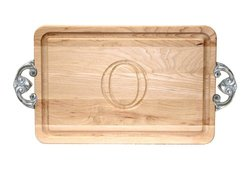"BigWood Boards Monogrammed ""O"" Cutting Board with Handles"