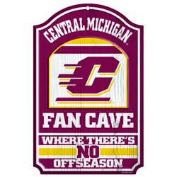 "NCAA Central Michigan Chippewas 11-by-17 ""Fan Cave"" Wood Sign"