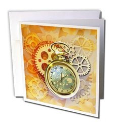 "Steampunk with Cogs, Gears, Golden Pocket Watch Greeting Cards, 6"" x 6"", Set of 12 (gc_212827_2)"