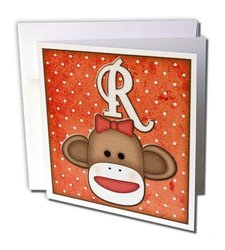 "Cute Sock Monkey Girl Initial Letter R Greeting Cards, 6"" x 6"", Set of 12 (gc_102821_2)"