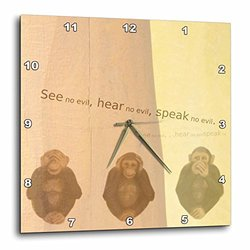 dpp_55721_3 See No Evil Monkees Animal Art Sayings Wall Clock, 15 by 15-Inch