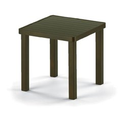 "Telescope Casual 18"" Square Aluminum Slat Patio End Table - Kona"
