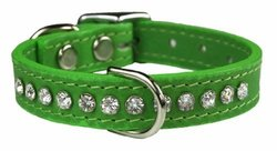 "OmniPet Signature Leather Crystal and Leather Dog Collar, 10"", Kiwi"