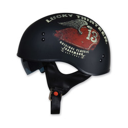 Torc Half Helmet with Lucky 13 Wings Graphics - Flat Black - Size: Small
