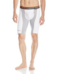 Shock Doctor Men's Ultra Pro Double Compression Shorts with Ultra Cup, White/Grey, Small