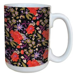 Tree-Free Greetings lm43720 Black Floral Pattern by Nel Whatmore Ceramic Mug, 15-Ounce