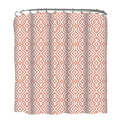 Indecor Home FSCRH-Braid-C Fabric Geo Braid Shower Curtain and Roller Hook Set