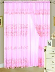 RT Designers Collection Monroe Embroidered Double Window Curtain Panel, 55 by 90-Inch, Pink/Gold