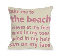 "Bentin Home 18""x18"" Take Me to the Beach Throw Pillow - Ivory/Pink"