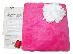 Haan Crafts Plush Alphabet Pillow Beginner/Kids Sewing Kit, Bright Pink