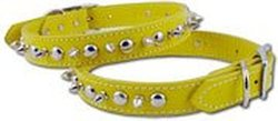 OmniPet Signature Leather Pet Collar with Spike and Stud Ornaments, Yellow, 3/4 by 16""