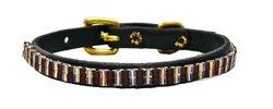 Just Fur Fun Dog Collar, Chocolate Diamond, 18-Inch, Black Leather