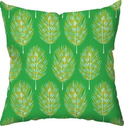 Checkerboard Guinea Feathers Throw Pillow; Green
