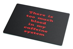 Rikki Knight RK-LGCB-1794 Too Much Blood Caffeine System Glass Cutting Board, Large, White