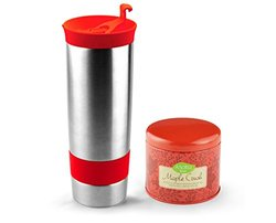 Asobu 16-oz Hot Press Bottle with Maple Crush Tea - Stainless Steel/Red