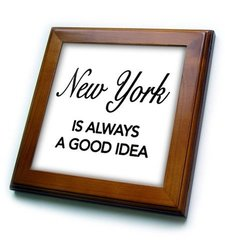 ft_163815_1 New York is Always a Good Idea Framed Tile, 8 by 8""