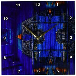dpp_55846_2 Houses and Landscapes to Make a Unique Pattern of Blues and Orange-Wall Clock, 13 by 13-Inch
