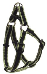 Hamilton 3-Stripe 5/8 by 12 to 20-Inch Adjustable Easy-On Dog Harness, Small, Moss Green