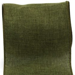 Kel-Toy Wired Faux Burlap Ribbon, 6-Inch by 10-Yard, Olive