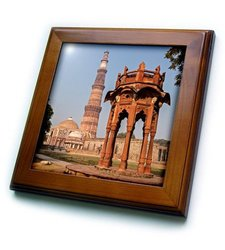 "ft_208479_1 New Delhi, in dia. Smiths Folly & Qutb Minar, A Minaret. Framed Tile, 8 by 8"""