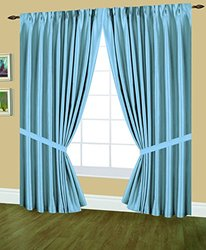 Editex Home Textiles Elaine Lined Pinch Pleated Window Curtain, 48 by 84-Inch, Light Blue