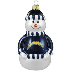 NFL San Diego Chargers Blown Glass Snowman Ornament