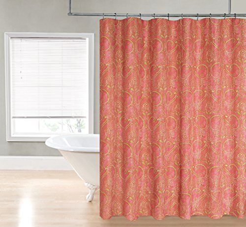 Regal Home Paisley Damask Printed Fabric Shower Curtain -Coral - 70 ...