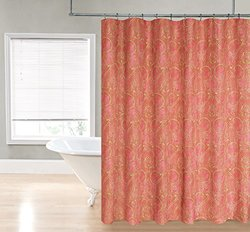 """Regal Home Paisley Damask Printed Fabric Shower Curtain -Coral - 70"""" x 72"""""""