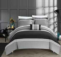 Chic Home 4 Piece Madison Hotel Collection Striped Patchwork Color Block Duvet Cover Set Shams And Decorative Pillows Included, King, Black