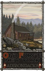 Northwest Art Mall Old Forge New York Summer Forest Cabin Wall Art by Paul A Lanquist, 11 by 17-Inch