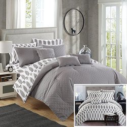 Chic Home 8 Piece Holland Diamond Quilted Embroidered With Contemporary REVERSIBLE printed backside Twin Bed In a Bag Comforter Set Grey Includes 3 Piece Sheets Set