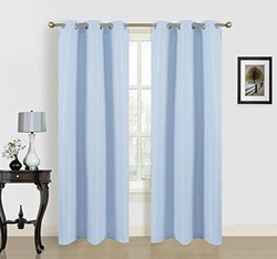 Dainty Home pack Blended Silk Curtains - 38'' x 84 2, Light Blue