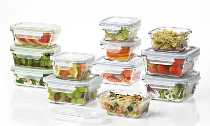 Captivating Pro Glass GlassLock Food Storage Set With Easy Snap Lids   24 Piece