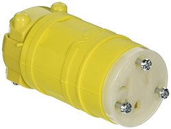 Leviton 1548 20 Amp, 250 Volt, Connector, Straight Blade, Industrial Grade, Grounding, Dustguard, Yellow