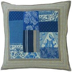 La Maisonnette Patch Sham, Blue