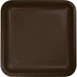 Chocolate Brown (Brown) Square Dessert Plates (18)