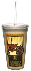 Tree-Free Greetings cc33361 Vintage Ohio Farm Country Tractor by Paul A. Lanquist Artful Traveler Double-Walled Cool Cup with Reusable Straw, 16-Ounce