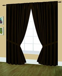Editex Home Textiles Elaine Lined Pinch Pleated Window Curtain, 48 by 63-Inch, Chocolate