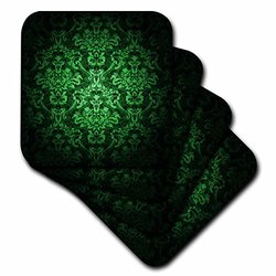 cst_153078_3 Green Glowing Damask Pattern Ceramic Tile Coasters, (Set of 4)