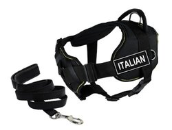 "Dean & Tyler's DT Fun Chest Support ""ITALIAN"" Harness, Medium, with 6 ft Padded Puppy Leash."