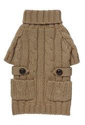 """Fab Dog Chunky Turtleneck Dog Sweater, Camel, 8"""" Length"""