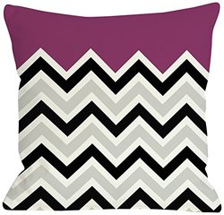 "Bentin Home Decor Chevron Solid Throw Pillow by OBC, 16""x 16"", Fuchsia/Black/White"