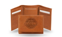 NBA Embossed Genuine Leather Trifold Wallet - Detroit Pistons