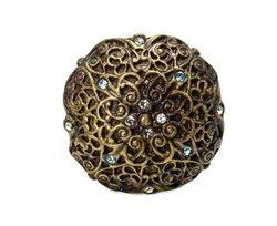 Carpe Diem Hardware 4514-3CAQ Monticello Large Round Knob Made with Swarovski Elements, Antique Brass, 1-9/16-Inch